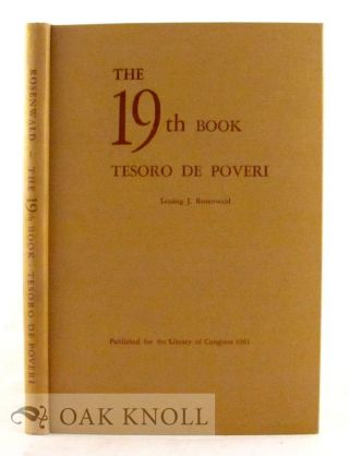 THE 19TH BOOK, TESORO DE POVERI. Lessing J. Rosenwald