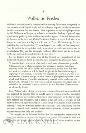 EMERY WALKER, SOME LIGHT ON HIS THEORIES OF PRINTING AND ON HIS RELATIONS WITH WILIAM MORRIS AND COBDEN-SANDERSON.
