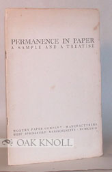 WORTHY PERMANENT BOOK PAPER, 100% RAG, AN INTRODUCTORY SAMPLE ON WHICH IS PRINTED A CHEMIST'S...