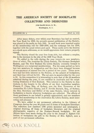 AMERICAN SOCIETY OF BOOKPLATE COLLECTORS AND DESIGNERS. BULLETIN