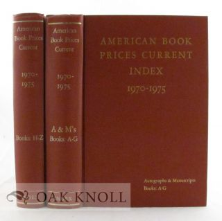 AMERICAN BOOK-PRICES CURRENT. INDEX 1970-1975