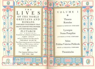 THE LIVES OF THE NOBLE GRECIANS AND ROMANS COMPARED TOGETHER BY THAT GRAVE LEARNED PHILOSOPHER AND HISTORIOGRAPHER, PLUTARCH.