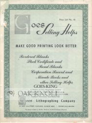 GOES SELLING HELPS MAKE GOOD PRINTING LOOK BETTER. PRICE LIST NO.18