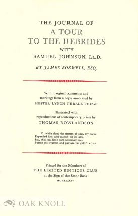 THE. JOURNAL OF A TOUR TO THE HEBRIDES WITH SAMUEL JOHNSON, LL.D.