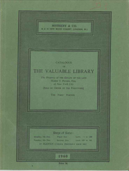 CATALOGUE OF THE VALUABLE LIBRARY, THE PROPERTY OF THE ESTATE OF THE L ATE HARRY T. PETERS