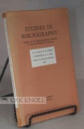 STUDIES IN BIBLIOGRAPHY, PAPERS OF THE BIBLIOGRAPHICAL SOCIETY OF THE UNIVERSITY OF VIRGINIA