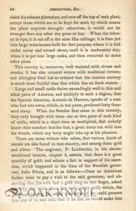 SHORT DESCRIPTION OF THE PROVINCE OF NEW SWEDEN. NOW CALLED, BY THE ENGLISH, PENNSYLVANIA, IN AMERICA. COMPILED FROM THE RELATIONS AND WRITINGS OF PERSONS WORTHY OF CREDIT, AND ADORNED WITH MAPS AND PLATES. Translated from the Swedish ... with Notes by Peter S. du Ponceau.