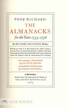 POOR RICHARD: THE ALMANACKS FOR THE YEARS 1733-1758 BY RICHARD SAUNDERS.