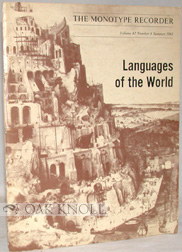 LANGUAGES OF THE WORLD THAT CAN BE SET ON `MONOTYPE' MACHINES. R. A. Downie.