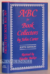 ABC FOR BOOK COLLECTORS. 6TH ED. (U.S.). John Carter.