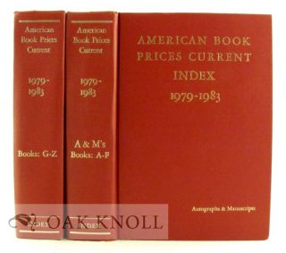 AMERICAN BOOK-PRICES CURRENT. INDEX. 1979-1983