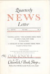 """ FESTINA LENTE"", THE HAMMER CREEK PRESS OF JOHN S. FASS, NEW YORK"