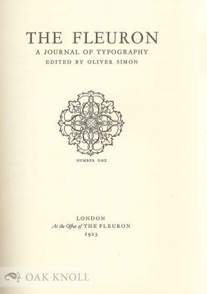 FLEURON, A JOURNAL OF TYPOGRAPHY.