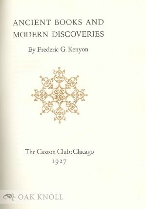 ANCIENT BOOKS AND MODERN DISCOVERIES.