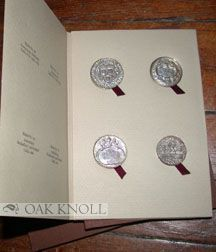 RARITIES OF NUMISMATA TYPOGRAPHICA, FOUR EXAMPLES OF EARLY DUTCH PRINTER'S BOOKBINDERS' & BOOKSELLERS' GUILD MEDALS, CAST IN STERLING SILVER FROM ORIGINAL SPECIMENS.
