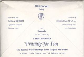 THIS PACKET BEING ITEMS FROM THE PAUL A. BENNETT TYPOPHILES MEMORIAL KEEPSAKE, 1968, PRESENTED BY...