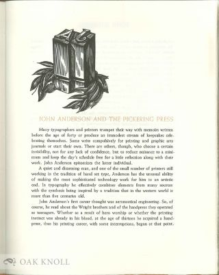 JOHN ANDERSON AND THE PICKERING PRESS. DePOL, FAULKNER LEWIS, WILLIAM LICKFIELD, CLAIRE VAN VLIET, HARRY VOLK, JR., PAUL E. WEAVER.
