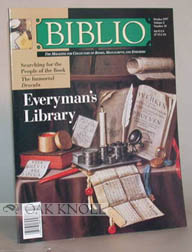 BIBLIO, THE MAGAZINE FOR COLLECTORS OF BOOKS, MANUSCRIPTS AND EPHEMERA