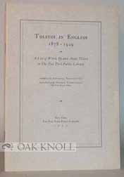 TOLSTOI IN ENGLISH 1878-1929