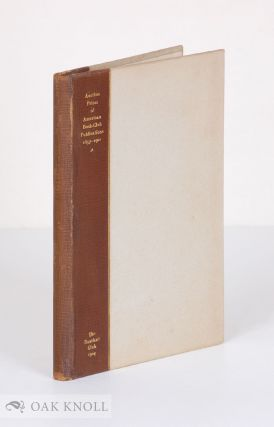 AUCTION PRICES OF AMERICAN BOOK-CLUB PUBLICATIONS 1857-1901. Robert F. Roden