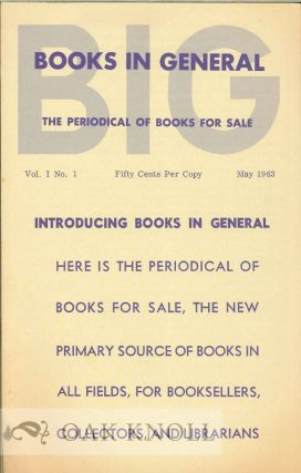 BOOKS IN GENERAL, THE PERIODICAL OF BOOKS FOR SALE.