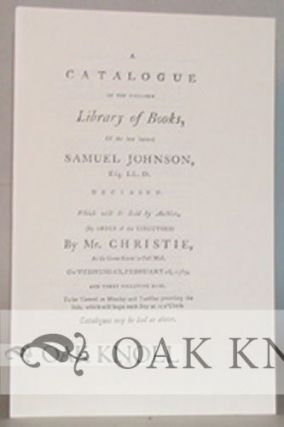 SALE CATALOGUES OF THE LIBRARIES OF SAMUEL JOHNSON, HESTER LYNCH THRALE (MRS. PIOZZI) AND JAMES BOSWELL.