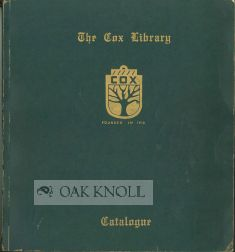 SHELF LIST AND CATALOGUE OF THE COX LIBRARY, A COLLECTION OF LOCAL HISTORIES AND BIBLIOGRAPHIES
