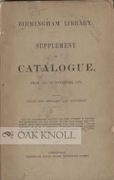 SUPPLEMENT TO CATALOGUE, FROM 1863 TO NOVEMBER 1873