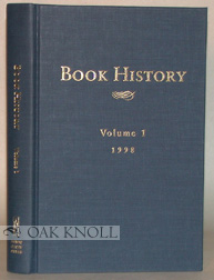 BOOK HISTORY, VOLUME I. Ezra Greenspan, Jonathan Rose
