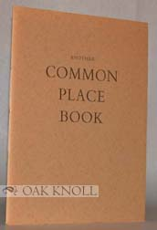 A COMMON PLACE BOOK. J. Oglethorpe Macnooder