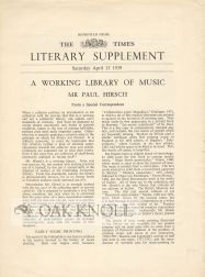 WORKING LIBRARY OF MUSIC: MR PAUL HIRSCH. Percy H. Muir.