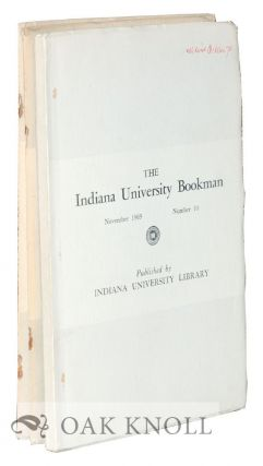 THE Three volumes. INDIANA UNIVERSITY BOOKMAN