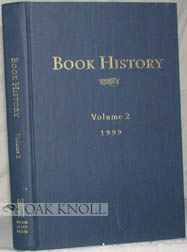 BOOK HISTORY, VOLUME 2. Ezra Greenspan, Jonathan Rose