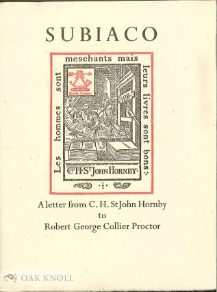 SUBIACO, A LETTER FROM C.H. ST. JOHN HORNBY TO ROBERT GEORGE COLLIER PROCTOR. C. H. St John Hornby