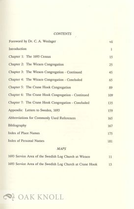 1693 CENSUS OF THE SWEDES ON THE DELAWARE. FAMILY HISTORIES OF THE SWEDISH LUTHERAN CHURCH MEMBERS RESIDING IN PENNSYLVANIA, DELAWARE, WEST NEW JERSEY & CECIL COUNTY, MD. 1638-1693.