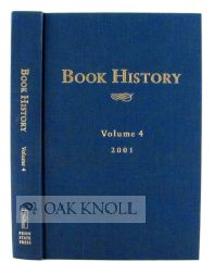 BOOK HISTORY, VOLUME 4. Ezra Greenspan, Jonathan Rose