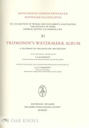 TROMONIN'S WATERMARK ALBUM, A FACSIMILE OF THE MOSCOW 1844 EDITION.