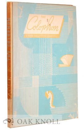 COLOPHON, A BOOK COLLECTOR'S Q, 18.
