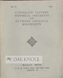 AUTOGRAPH LETTERS, HISTORICAL DOCUMENTS, AND AUTHORS' ORIGINAL MANUSCRIPTS