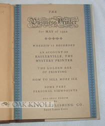 THE BUSINESS PRINTER FOR MAY OF 1932. WHEREIN IS RECORDED AN ACCOUNT OF BASKERVILLE, THE MYSTERY PRINTER ... .