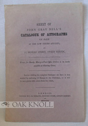 SHEET OF JOHN GRAY BELL'S CATALOGUE OF AUTOGRAPHS ON SALE AT THE LOW PRICES AFFIXED ... John...