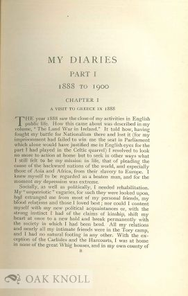 MY DIARIES. BEING A PERSONAL NARRATIVE OF EVENTS. 1888-1914.