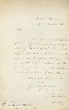 ALS. from J. Forshall of the British Museum, 27 March 1840, to the Hon. Philip P. Bouverie,...