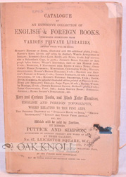 CATALOGUE OF AN EXTENSIVE COLLECTION OF ENGLISH & FOREIGN BOOKS
