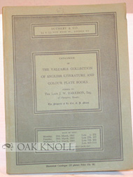 CATALOGUE OF THE VALUABLE COLLECTION OF ENGLISH LITERATURE AND COLOUR PLATE BOOKS