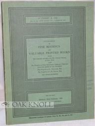CATALOGUE OF FINE BINDINGS AND VALUABLE PRINTED BOOKS