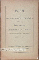 MEMORIAL POEM AT THE ONE HUNDRED AND NINETY-FIRST CELEBRATION OF DRAWYER'S CHURCH, JUNE 1, 1902....