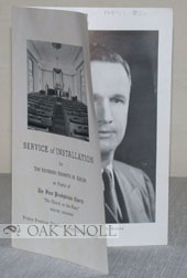 SERVICE OF INSTALLATION FOR THE REVEREND KENNETH M. KEPLER AS PASTOR OF THE FIRST PRESBYTERIAN...