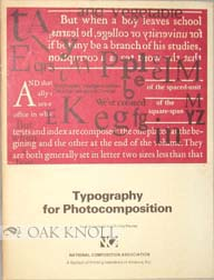 TYPOGRAPHY FOR PHOTOCOMPOSITION. A. S. Lawson, Archie Provan