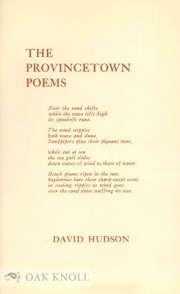THE PROVINCETOWN POEMS. David Hudson